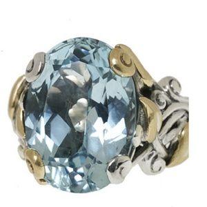 Jewelry - Blue topaz vine and leaf ring